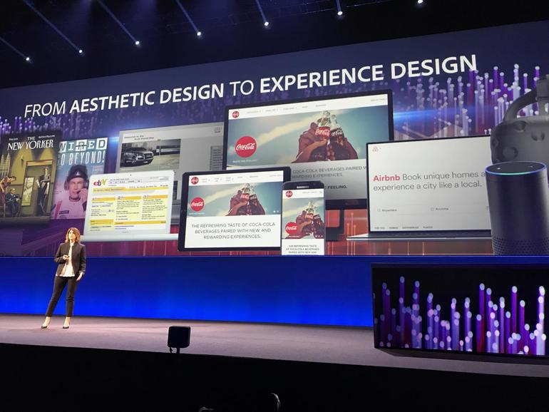 Adobe zeigte anhand der Coca-Cola-App für die Fußball-WM 2018, wie XD schnell Designs in auf hunderten von Screens ändern kann.