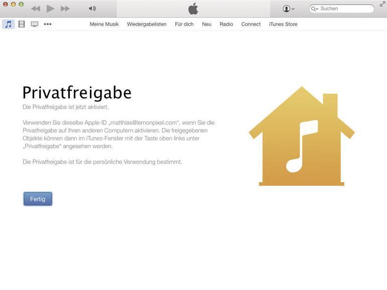 Die Privatfreigabe ist eine kontrollierte Freigabe für andere Nutzer im Heimnetzwerk.