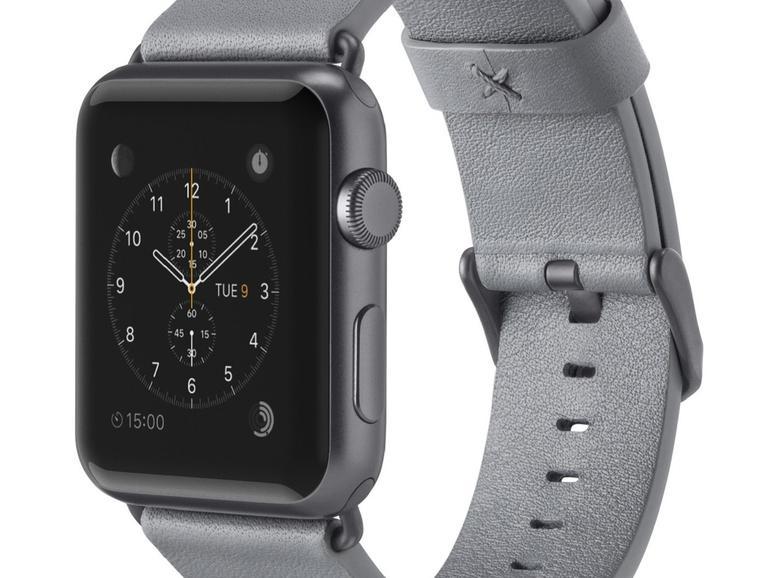 Graues Lederarmband für die Apple Watch