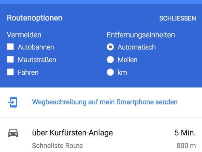 Screenshot: Route ans iPhone senden