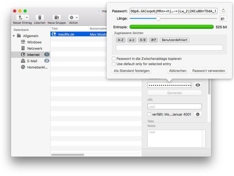 Macpass hilft Ihnen beim Erstellen sicherer Passwörter.