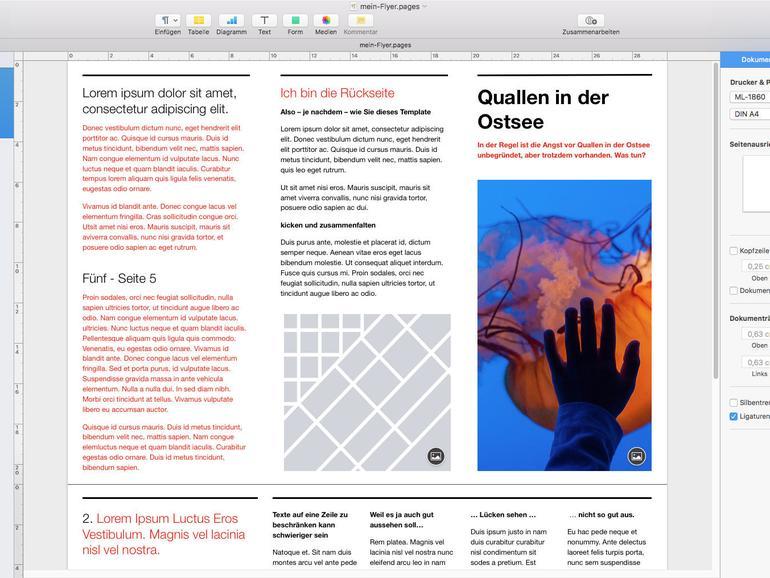Das aktuelle Pages sieht aus wie Pages 5 und beherrscht per iCloud die Zusammenarbeit an gemeinsamen Dokumenten.