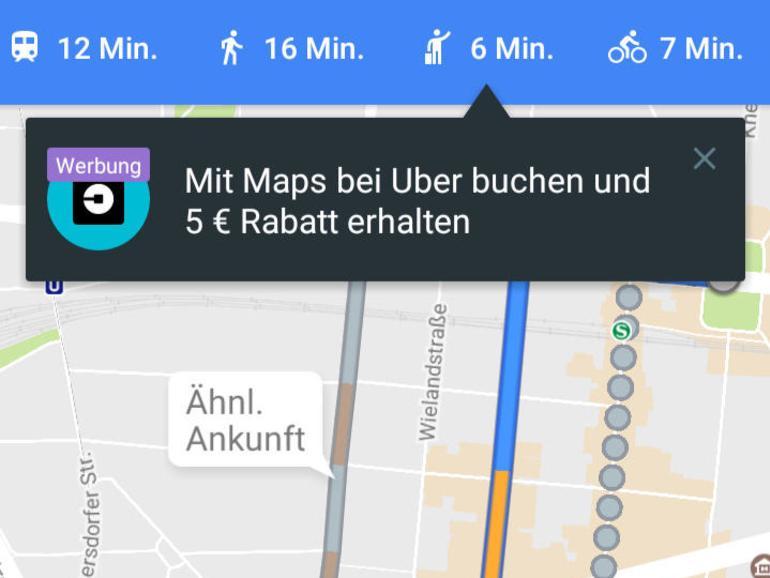 Screenshot: Taxi bestellen in Google Maps