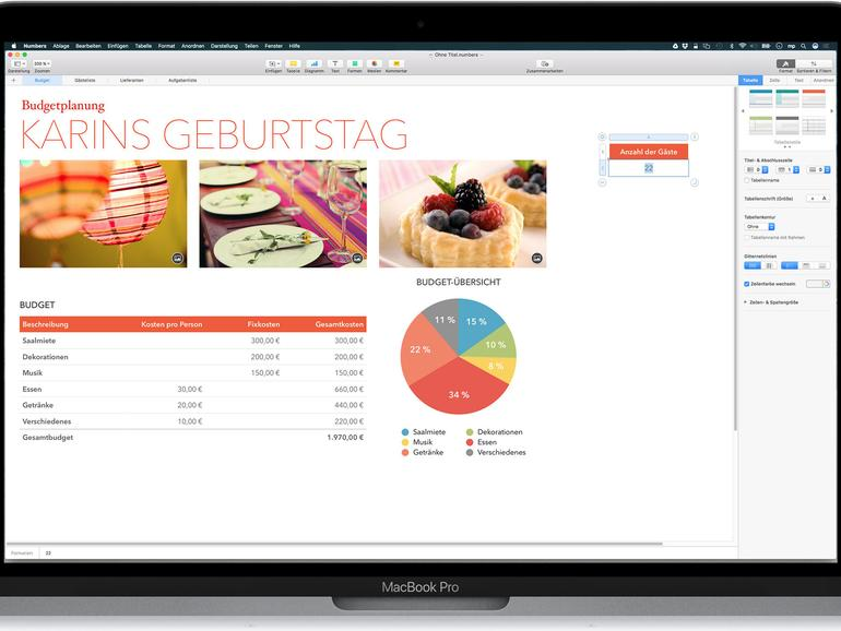 Numbers auf dem MacBook Pro