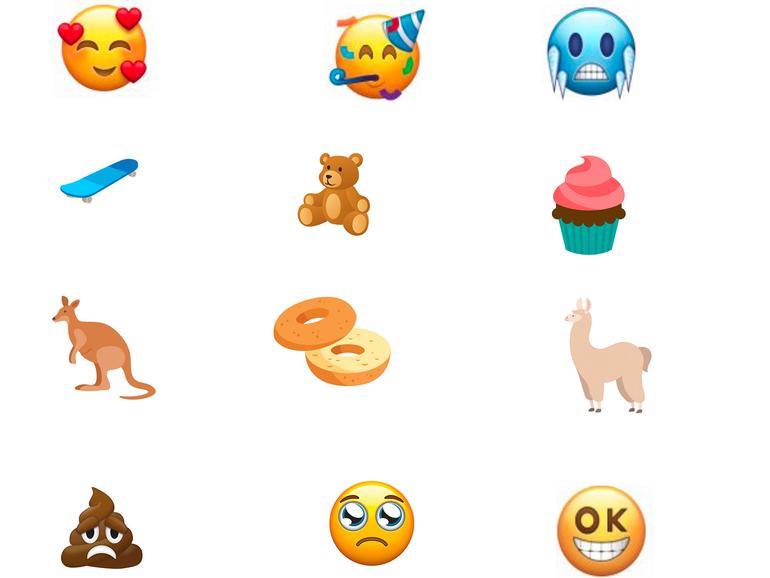 Neue Emojis: Stirnrunzelnder Kackhaufen und Gesicht mit