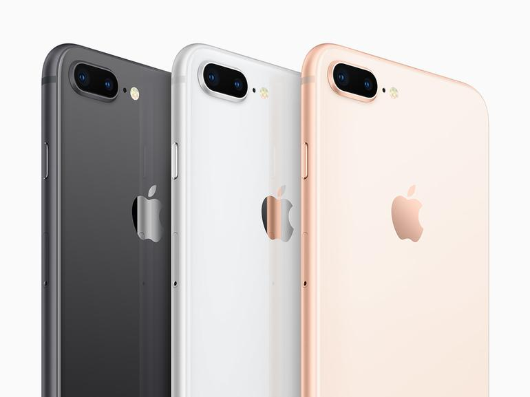 Das iPhone 8 Plus mit der schönen Glasrückseite in den Farben Space Grau, Silber und Gold (von links nach rechts)