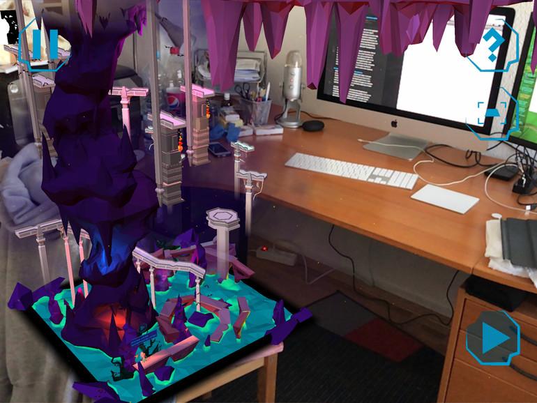 Screenshot zeigt Kidu: A Relentless Quest auf dem eigenen Bürostuhl