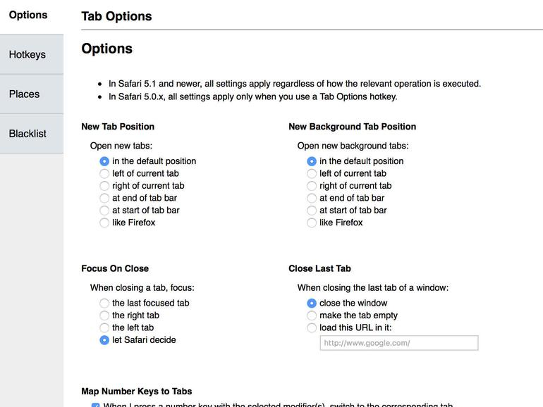 Tab Options