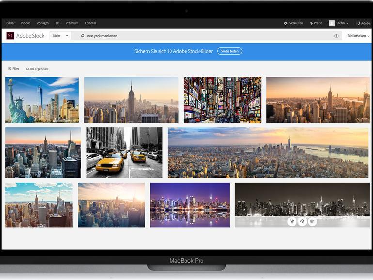 Adobe Stock auf dem MacBook Pro