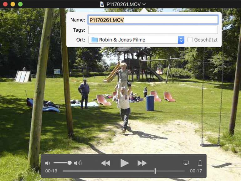 Video-Dateien können im QuickTime-Player direkt an andere Speicherorte verschoben und mit Schlagworten versehen werden.