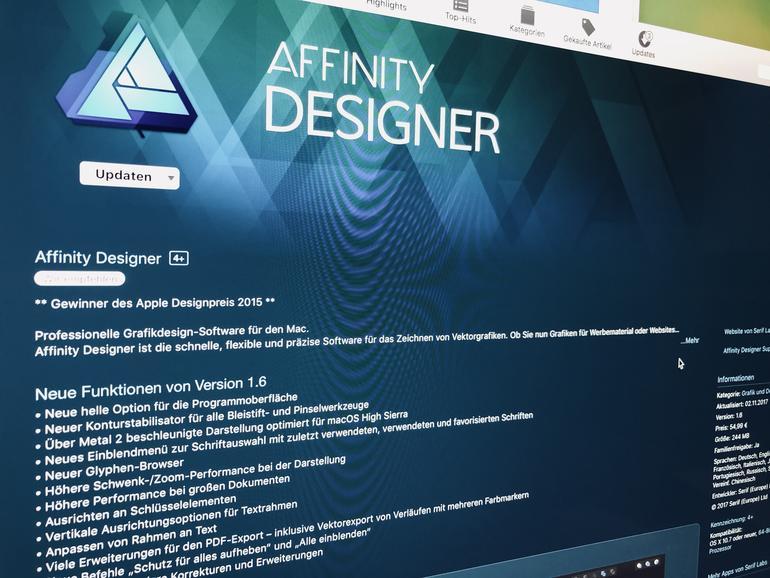 """Affinity Designer jetzt mit """"Metal 2""""-Support"""