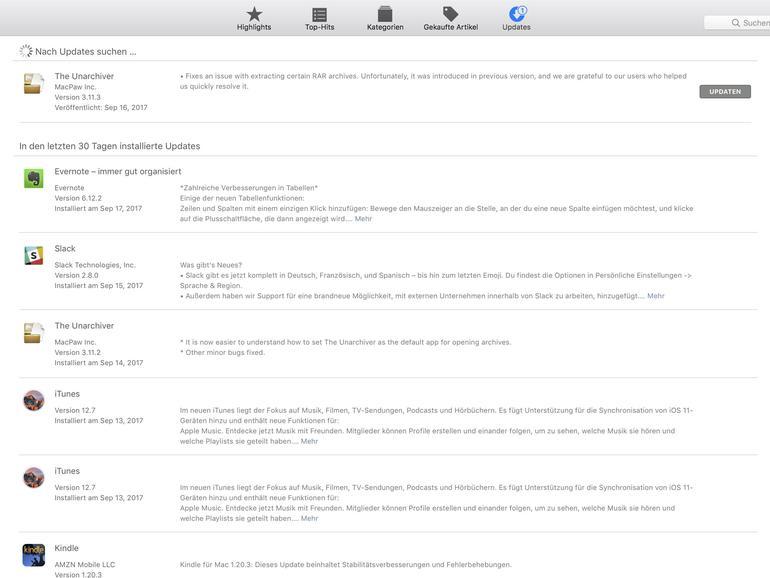 Update-Hinweise im Mac App Store
