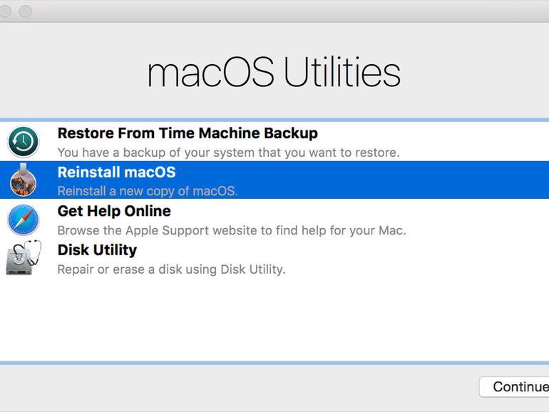 macOS Utilities Dialogfenster