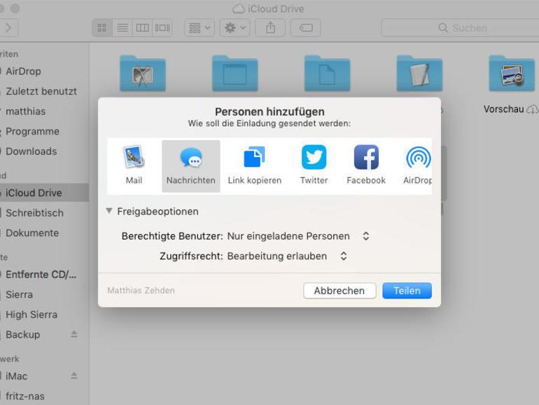 """iCloud Drive rückt weiter an Dropbox und andere Cloud-Dienste heran. Sie können eine Datei auswählen und über """"Bereitstellen"""" einen Dienst wählen und dann Personen zum Teilen der Datei darüber einladen. Entweder über die Konten oder über einen Link, den jeder öffnen kann."""
