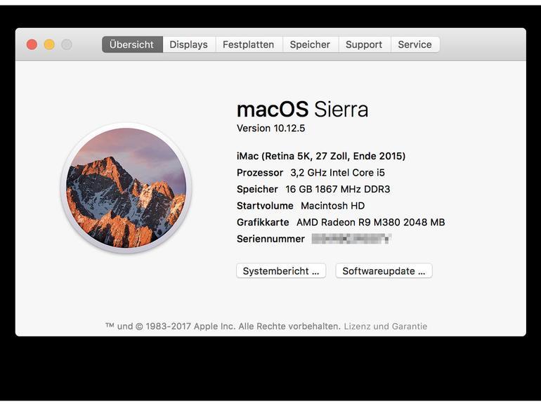 Über diesen Mac: Info auf Rechner mit macOS Sierra