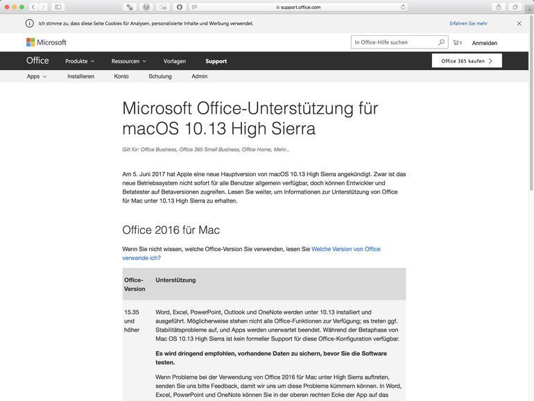 Hinweise zum Support von High Sierra von Microsoft Office