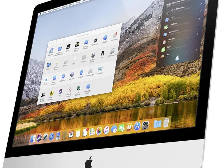 Auf den ersten Blick unterscheidet sich der High-Sierra-Desktop kaum vom Vorgänger. Schaut man genauer hin, fallen doch neue Funktionen und einige veränderte Icons im Dock auf.