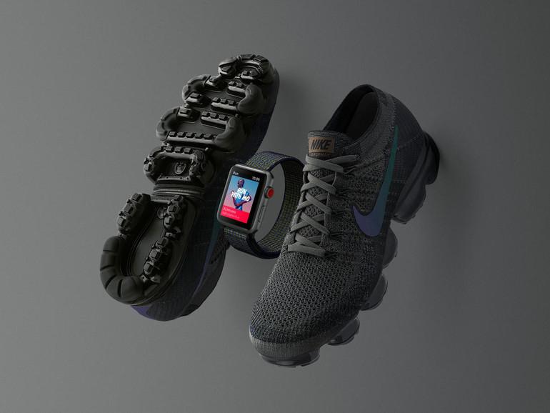 Apple Watch Series 3 Cellular + GPS und Nike Air VaporMax Turnschuhe in der Midnight Fog Edition