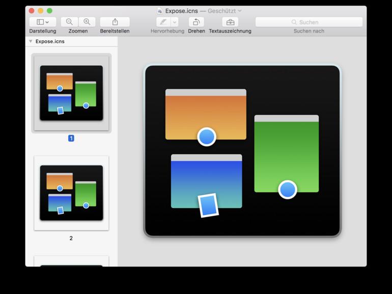 Sie können Icons mit (cmd) + (c) schnell kopieren