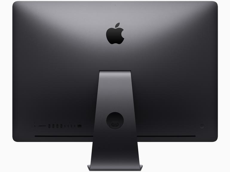 Auf der Rückseite des iMac Pro gibt es jede Menge schnelle Anschlüsse