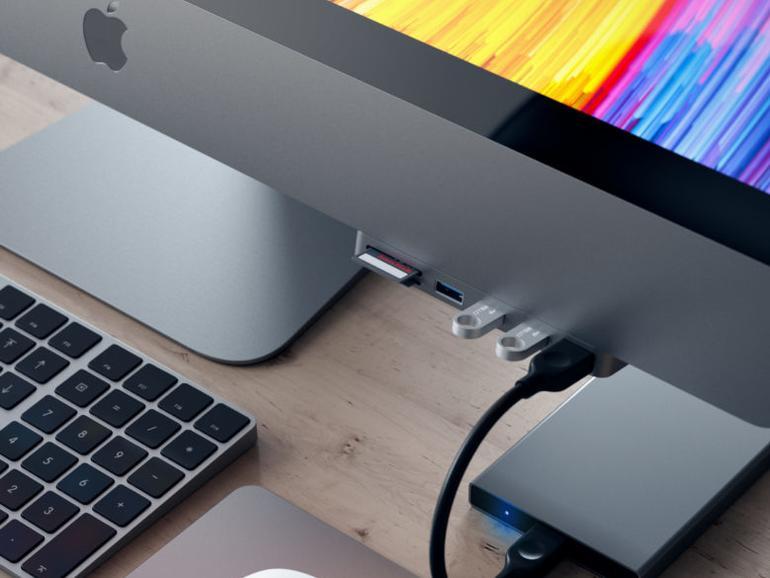 Satechi Hub sorgt für Anschlüsse an der Vorderseite des iMac Pro