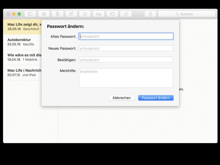 Das neue Passwort gilt für alle geöffneten geschützen Notizen sowie für Notizen, die noch mit einem Passwortschutz versehen werden