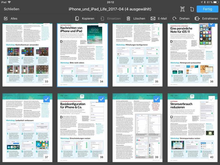 In der Miniaturansicht lassen sich einzelne Seiten löschen, drehen oder in neue PDFs extrahieren.