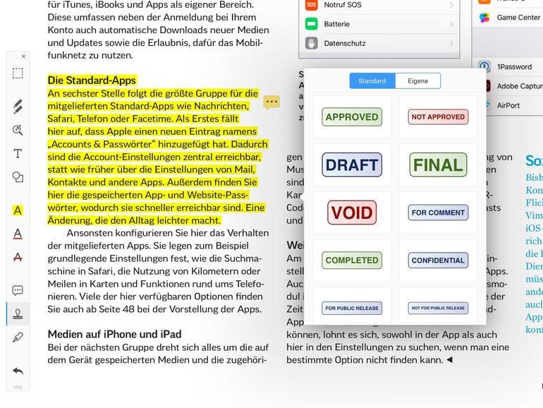 PDF Expert bringt auf dem iPhone und wie hier auf dem iPad fast den Komfort und die Funktionen, die man von PDF-Readern auf dem Desktop erwarten kann.
