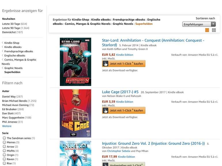 Amazon verkauft auch digitale Comics, aber nur über den iPad-Browser.