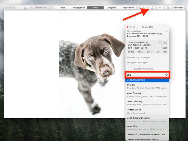 Standortdaten lassen sich mit der Fotos-App schnell hinzufügen