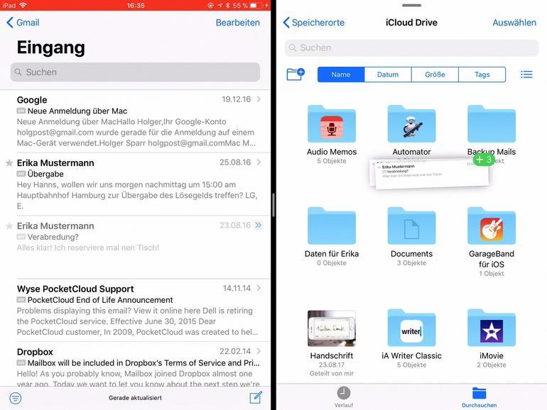 Nur iPad-Besitzer haben dank des Split View die Möglichkeit, ihre Mails zu sichern. Wird die Dateien-App parallel geöffnet, lassen sich Mails einfach auf einen Ordner ziehen.