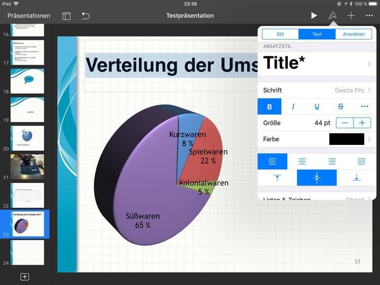 Mit Keynote lassen sich nicht nur Präsentationen erstellen und bearbeiten, sondern auf dem größeren Display des iPad vor kleinen Gruppen auch durchaus vorführen.
