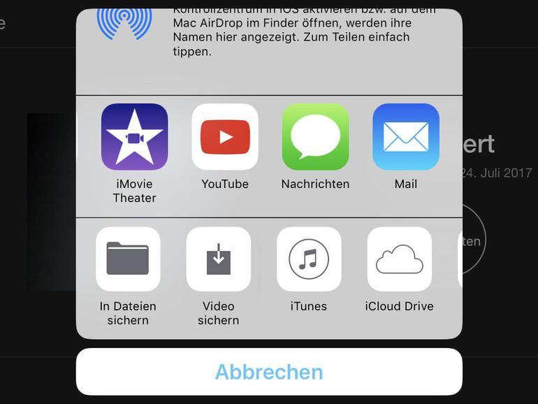 Fertige Videos lassen sich direkt zu Diensten wie Youtube oder zu Cloud-Anbietern transferieren.