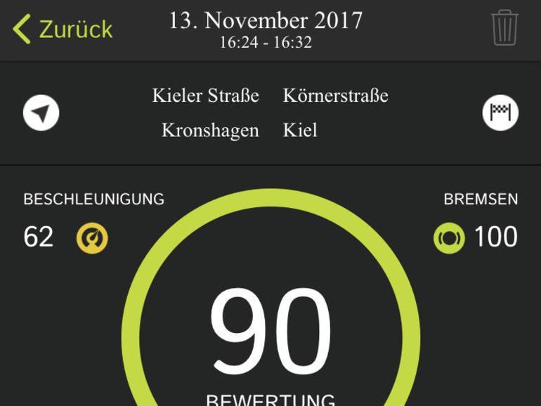 Die Curfer-App präsentiert die Fahrzeugwerte in Echtzeit in einer langen Liste.