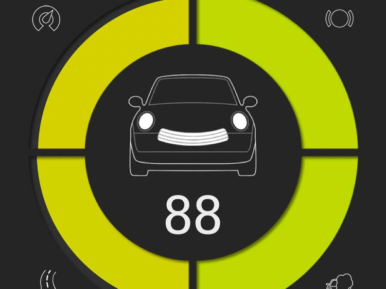 Nach dem Ende einer Fahrt bewertet die App den Fahrstil in vier Kategorien.