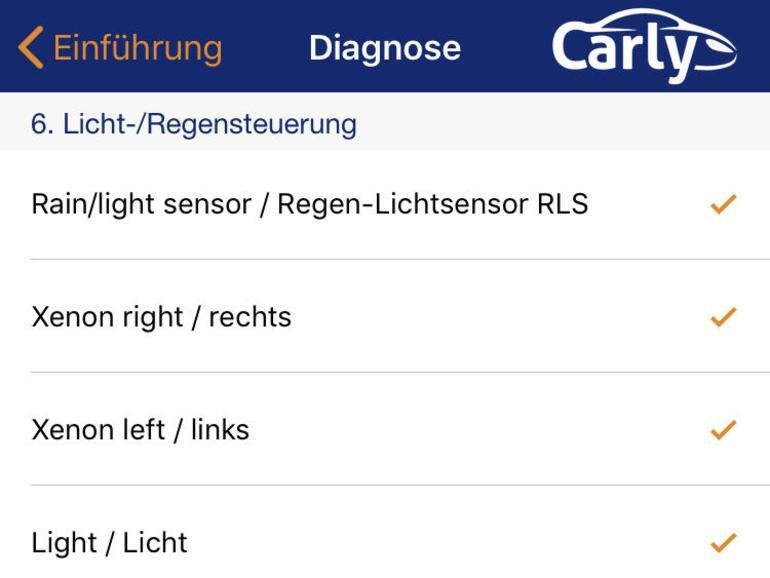Der Diagnose-Modus der Carly-App fragt zahlreiche Sensoren ab und lässt kaum Wünsche offen.