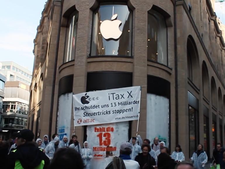 Auch in Köln gab es bereits Proteste von Attac vor einem Apple-Store