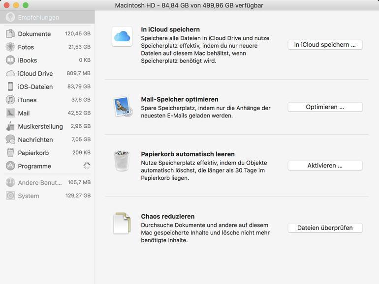 Optimierungen von macOS High Sierra