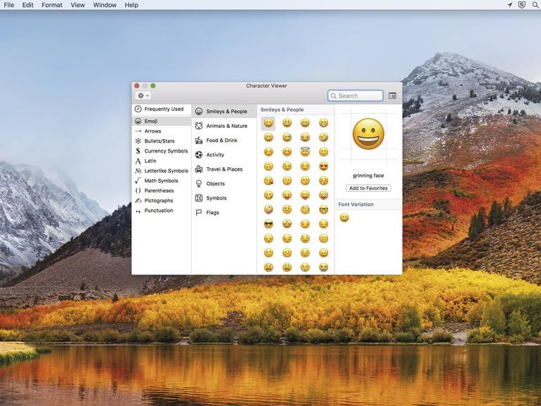Sie können Emojis wie unter iOS verwenden. Einfach [CTRL] + [CMD] + [Leertaste] drücken.