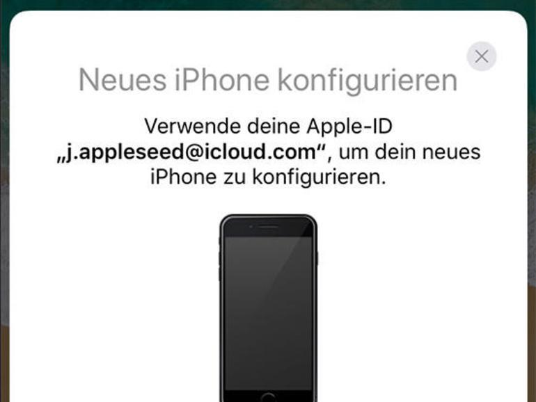1 Starten Sie das iPhone X und schalten Sie Bluetooth auf dem alten Gerät ein. Ihr altes iPhone muss auf iOS 11 aktualisiert worden sein. Legen Sie beide iPhones nebeneinander. Warten Sie ein paar Sekunden und bestätigen Sie dann, dass Sie den Datenumzug durchführen möchten.