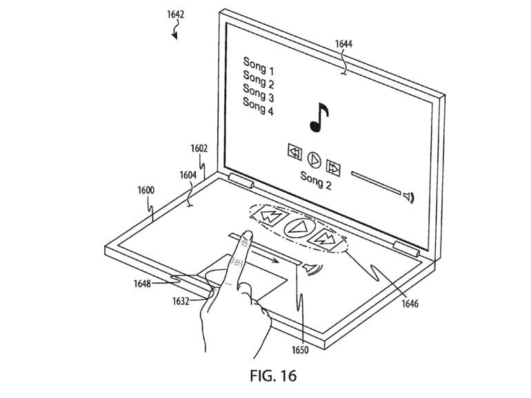 Patentskizze zeigt flexible Tastatur am MacBook