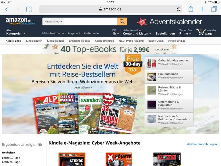 Amazon verkauft digitale Magazine und Zeitungen für Kindle-Geräte und -App.