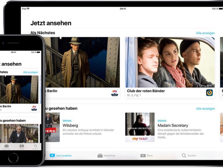 """Apples """"TV""""-App funktioniert nicht nur auf Apple TV, sondern auch auf iPhone und iPad und listet unter anderem Filme und Serien aus iTunes."""