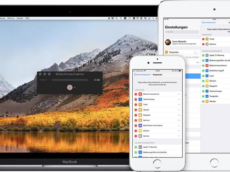 Bildschirmaufnahme am Mac, iPhone und iPad