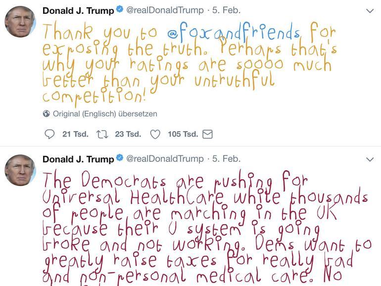 """""""Make Trump Tweets Eight Again"""": Donalds Trumps Tweets in ursprünglicher Form."""