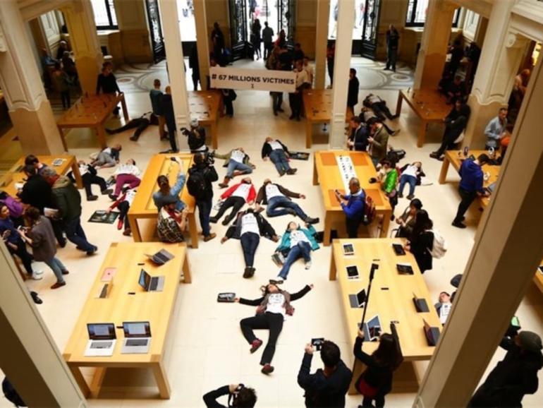 Die-Ins in Frankreich: Aktivisten protestieren gegen Steuerflucht in Apple Stores