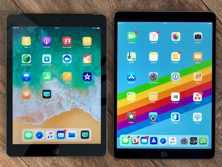 """Das neue iPad (links) und das iPad Pro 10,5"""" (rechts) Seite an Seite."""