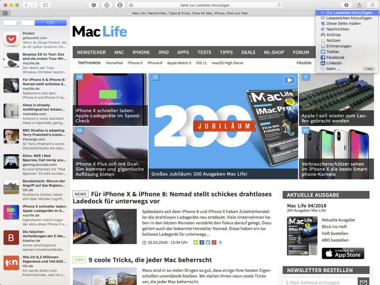 Auf dem Mac hat Apple die Leseliste in der ausgeblendeten Seitenleiste von Safari versteckt.