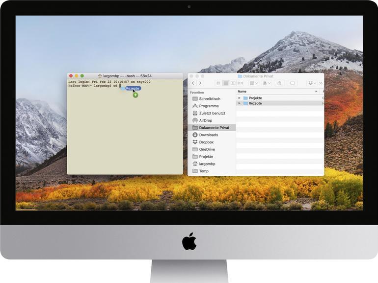 Pfade aus Finder in Terminal in macOS verschieben