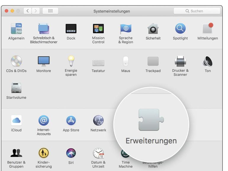 """In der Systemeinstellung """"Erweiterungen"""" wird ein Teil der Plug-ins und Erweiterungen von macOS verwaltet."""